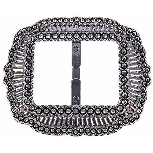 Rhinestone Metal Belt Buckle (Mibo ABS Metal Plated Buckle Vintage Look Mibo Imitation Rhinestone Effect 35mm Inside Bar Antique Nikel)