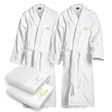Kaufman - Terry Cloth Bathrobes 100% Cotton - His and Hers Embroidered Shawl Set of Robes with His and Hers White Towel Set 30''x58'' 4-PK