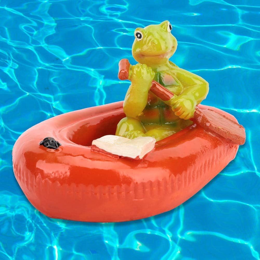 Duokon Pond Floating Animal Bathtub Garden Swimming Pool Decor Figurine Orange-Red Rubber Boat Turtle Fish Pond Water Fountain Water Surface Ornament