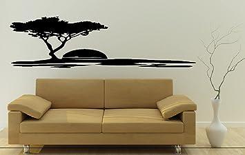 DD Dotzler Design Wandtattoo Wandaufkleber Savanne Steppe Afrika Sonne Baum  Schwarz 115 X 30 Cm