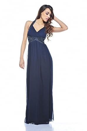AX Paris Jewel Halter Neck Maxi Dress(Navy, Size:4)
