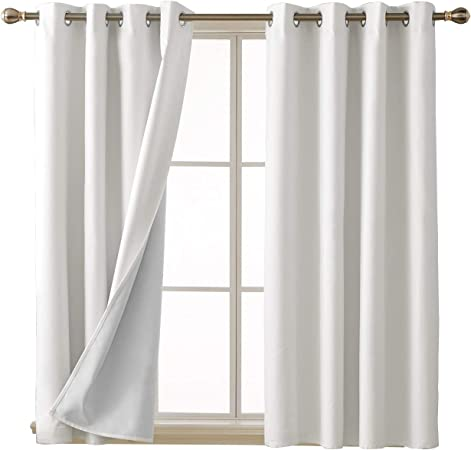 Amazon.com: Deconovo 100 Percent White Blackout Curtains with 3