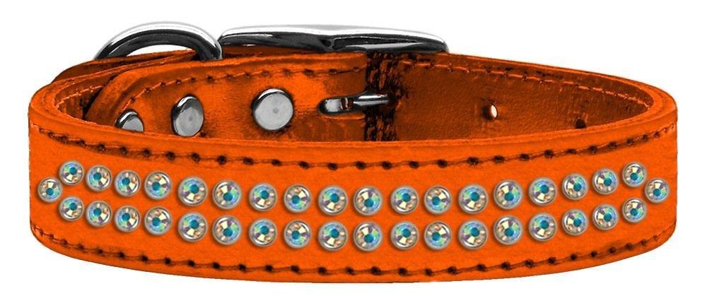 16\ Mirage Pet Products Two Row Aurora Borealis Crystal Metallic Leather orange Dog Collar, 16