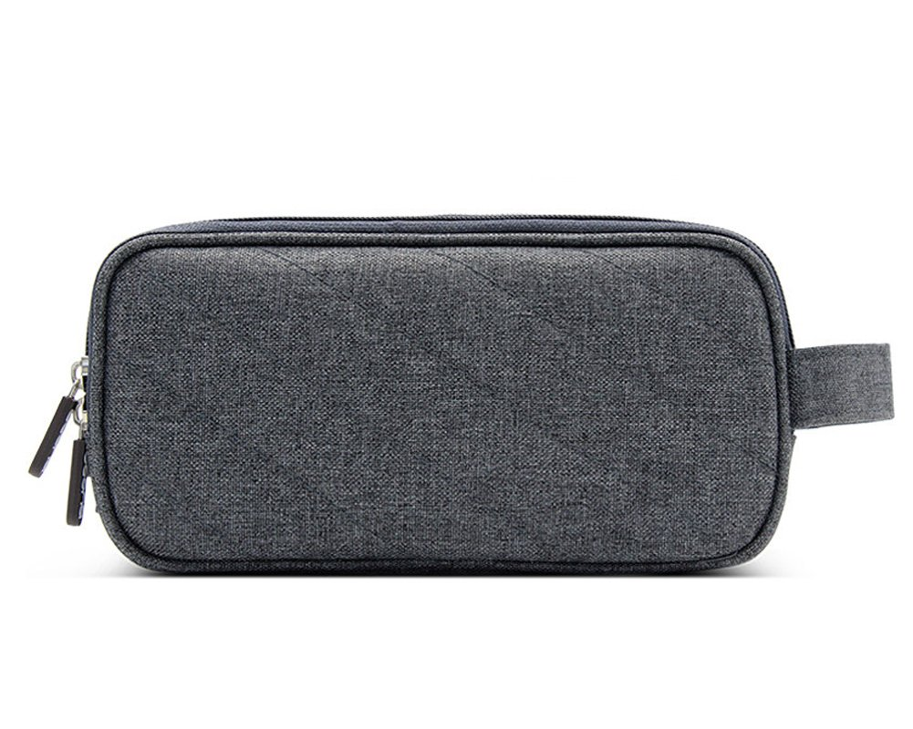 Double Layer Cable Organizer, Universal Electronics Accessories Case, Travel Electronics Cable Organizer Bag for Hard Drives, Cables, Charger and Other Accessories #81158 (Dark grey)