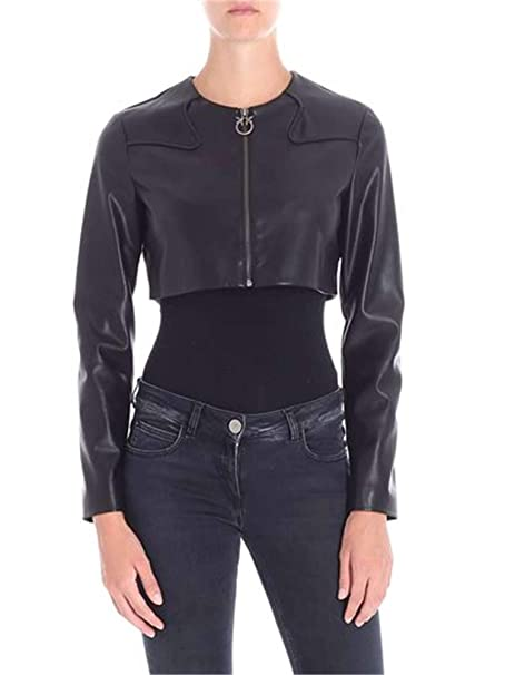 the latest 148d7 57618 Pinko Giacca Outerwear Donna 1G13km7105z99 Pelle Nero ...