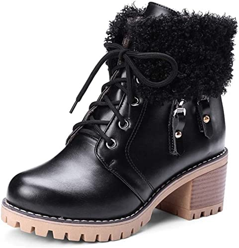 Womens Pointed Buckle Snow Boots Chunky Block Mid Heel Ladies Martin Ankle Boots