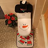 Smartcoco Christmas Happy Snowman Toilet Seat Cover and Rug Set Bathroom Decorations Supplies