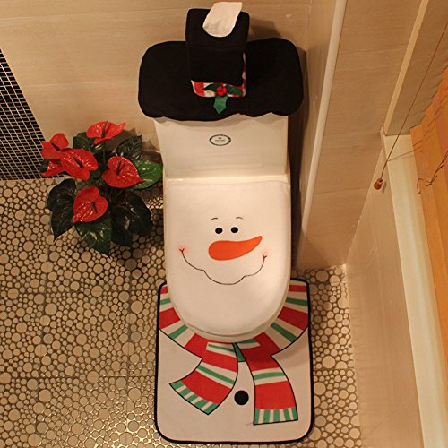 Smartcoco Christmas Happy Snowman Toilet Seat Cover and Rug Set Bathroom Decorations Supplies by Smartcoco