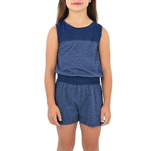 e386f0e8df11 Amazon.com  Splendid Tween Girls Indigo Romper with Lace in Dark Stone   Clothing