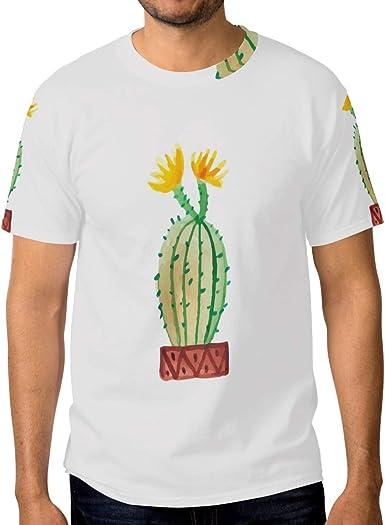 FAJRO Yellowing Cactus - Camiseta de Manga Corta para Hombre: Amazon.es: Ropa y accesorios