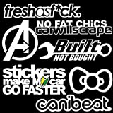 iJDMTOY JDM Canibeat Funny No Fat Chics Joke Fresh As Fck Built Not Bought Bowtie Stickers Make My Car Go Faster Combo Deal Stickers Decals SET