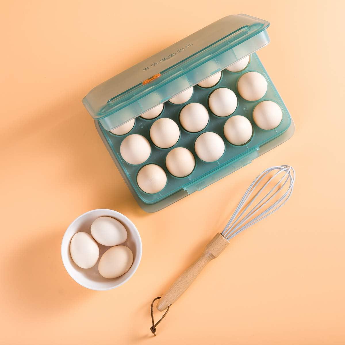 Cabilock Kunststoff Eierhalter f/ür K/ühlschrank mit Deckel K/ühlschrankhalter f/ür K/üche H/ält bis zu 14 Eierhalter Klar