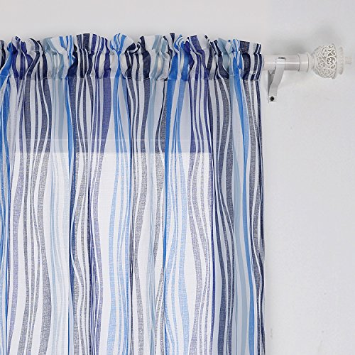 [Deconovo Sheers Blue Stripe Curtain Panels Vibrant Waves Rod Pocket 95 Inch Curtains 42W x 84L Inch Blue A Set Of Two] (Stripe Rod Pocket Panel)