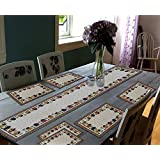 "Glamkart Jacquard Linen 7 Piece Mat with Table Runner -  13"" x 18"", Multicolour (AMAZON02A)"