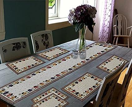 Glamkart Jacquard Linen 7 Piece Mat with Table Runner - 13 x 18, Multicolour (AMAZON02A)