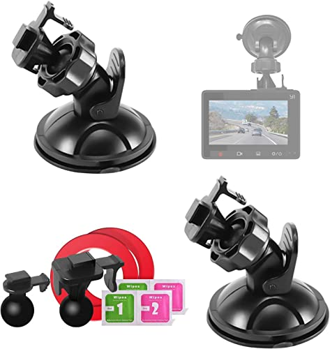 Mount Holder for YI Dash Camera,Suction Cup Mount for YI Dash Cam 2 Packs with 2 Different Pivot Swivel Points,2 Wipes Dry and Wet ,2 3M Double Sided Adhesive Tapes