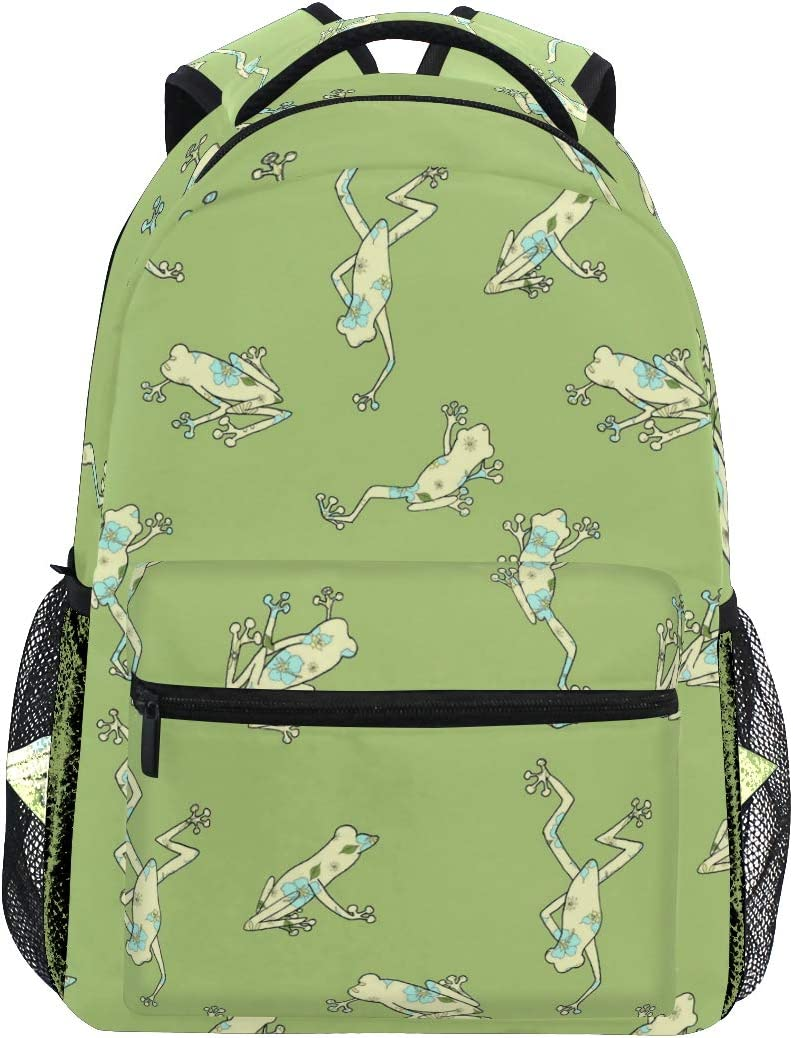 ILEEY Green Frogs Pattern Casual Backpack School Bag Computer Book Bag Travel Hiking Camping Daypack for Girls Boys Men and Women