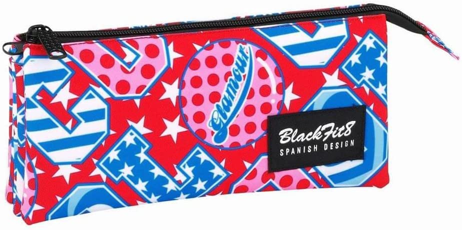 Blackfit8-Blackfit Blackfit8-Estuche portatodo Triple 841744744, Color Rojo y Azul, 22 cm (SAFTA: Amazon.es: Juguetes y juegos