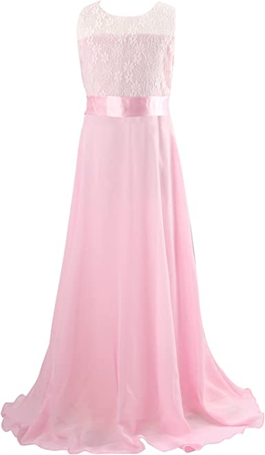 Discoball Girls Lace Dress Chiffon Gown Dress Floor Length Dress Wedding Bridesmaid Flower Girl Long Dress