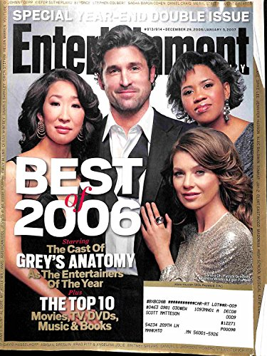 Entertainment Weekly December 29 2006/Janaury 5 2007 Sandra Oh, Patrick Dempsey, Chandra Wilson, Ellen Pompeo (913/914)
