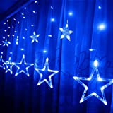 138 LED Curtain Lights,KINGCOO 2m 12 Stars Battery Operated Window Curtain Fairy String Lights for Festival Christmas/Wedding/Party/Garden Decorations (Blue)