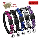 """Beirui 5 Set Christmas Nylon Bling Dog Kitten Cat Adjustable Breakaway Collar with Bells - Sparkling Quick Release Safe Buckle Cat Collar - Glitter Puppy ID Collar - X-Small Neck for 7-10.5"""""""