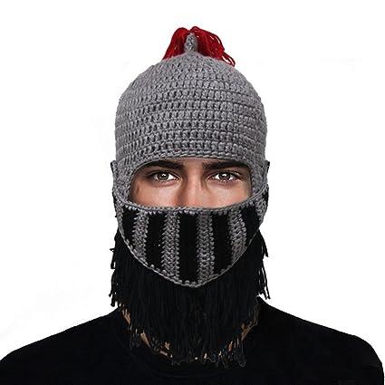 d11009ac6ff Amazon.com  GIANCOMICS Red Tassel Roman Cosplay Knight Helmet Visor Beanie  Knit Hat Cap Grey LM03  Sports   Outdoors