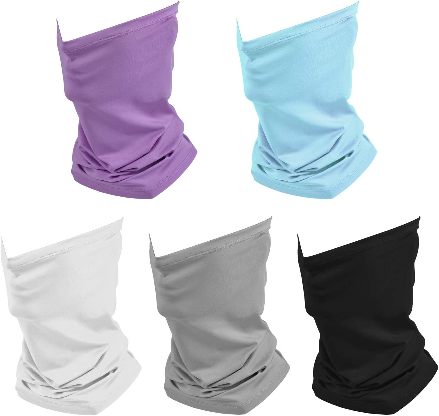 Retail Sign Systems 5 Pack Summer Neck Bandana Face Mask UV Sun Protection, Unisex Elastic Neck Gaiter Face Mask Breathable Cooling Fishing Face Scarf Cover