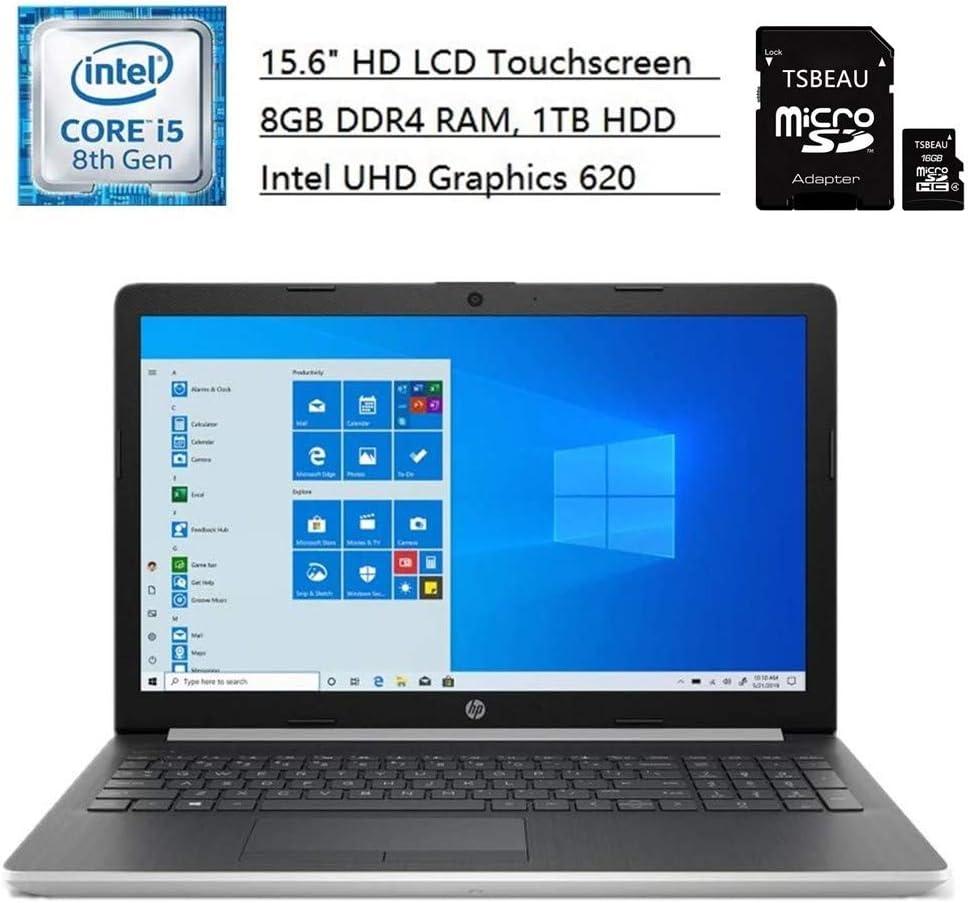 HP 15 Laptop, 15.6-inch HD LCD Touchscreen, Intel Core i5-8265U, Intel UHD Graphics 620, 8GB DDR4 RAM, 1TB 5400 RPM HDD, Camera, Bluetooth, Wireless, Windows 10 Home + TSBEAU 16GB Micro SD Card