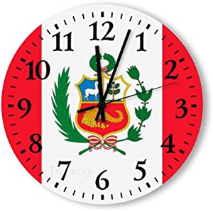 Tamengi Personalized 15inch Kitchen Decorative Wall Clock, Battery Operated, Peru Flag Classic Silent Wooden Clocks for Home Bedroom Office