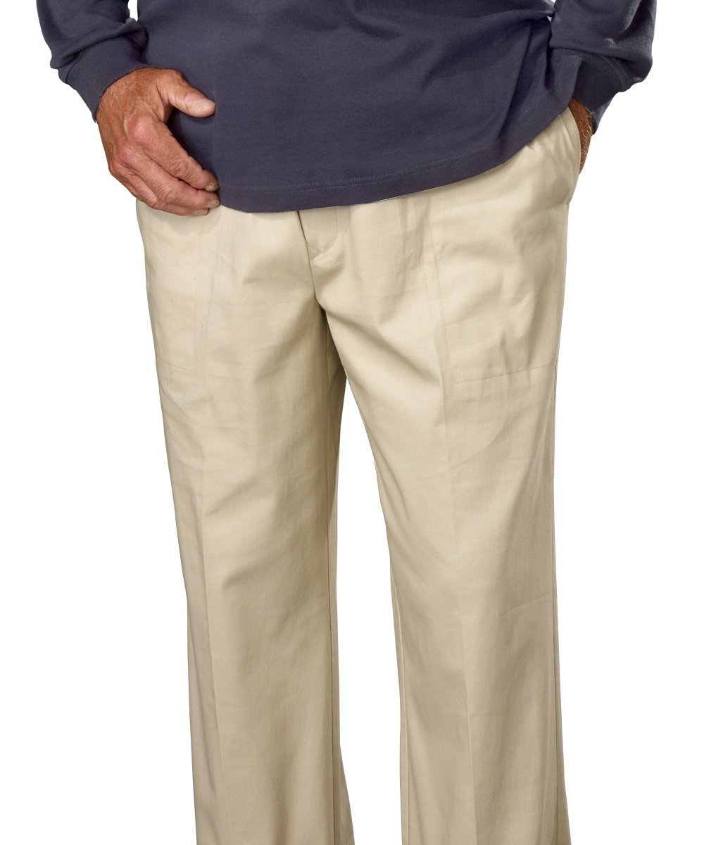 Silverts Disabled Elderly Needs Mens Elastic Waist Pull On Pant - Cotton Rugger Pants Silvert' s 50790