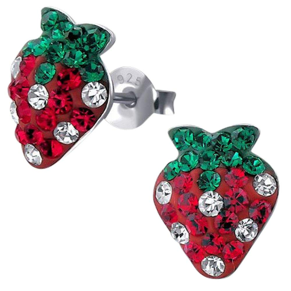 925 Sterling Silver Strawberry Ear Studs So Chic Jewels