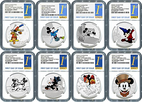 NU 2017 Disney Mickey Through the Ages - Complete 8-Coin Collection - CERTIFIED NGC PF70 FIRST DAY OF ISSUE PF70