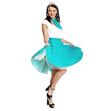 6ee2d8d700c4aa Kostümplanet® Rock-n Roll Rock 50 Jahre Damen Kostüm Gepunkteter Tellerrock  Rock Roll Rock