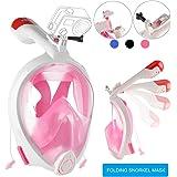 Máscara de Buceo, VELLAA Máscara Snorkel Máscara con 180 Grados de Vision, la Máscara de Snorkel Para cámara Gopro Tubo Respirador Plegable Cara Completa Fácil Respiración Tamaños Para Adultos y Niños