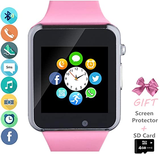 Amazqi Smart Watch, Smartwatch Phone with SD Card Pedometer Call Text Notification SIM Card Slot Music Player Camera Compatible for Android Samsung Huawei and iPhone Partial Functions for Men Women
