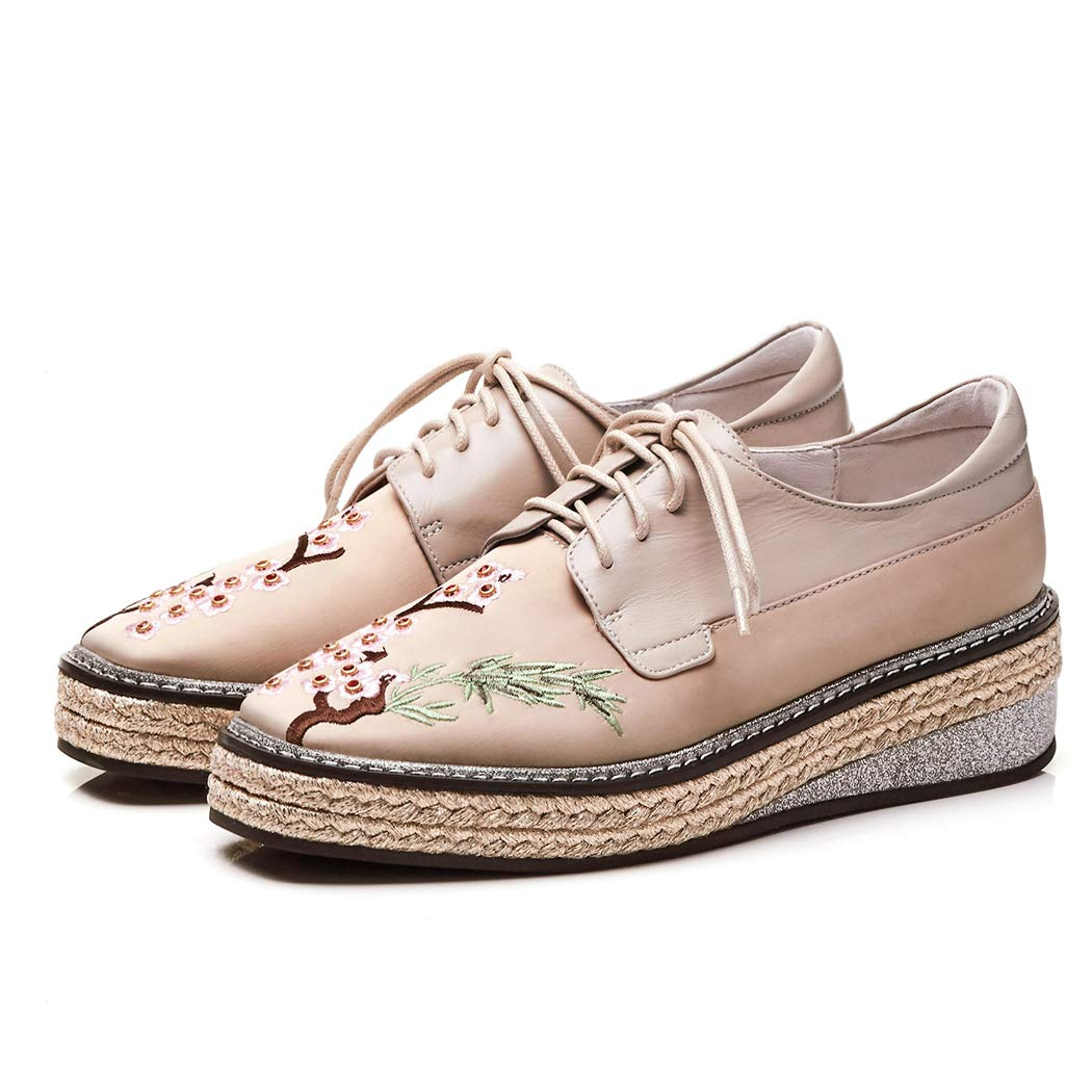 ANNIESHOE Zapatos Mujer de Cordones Derby Oxford Cuña Elegantes Casual Tacon Cuña Oxford Plataforma 093059