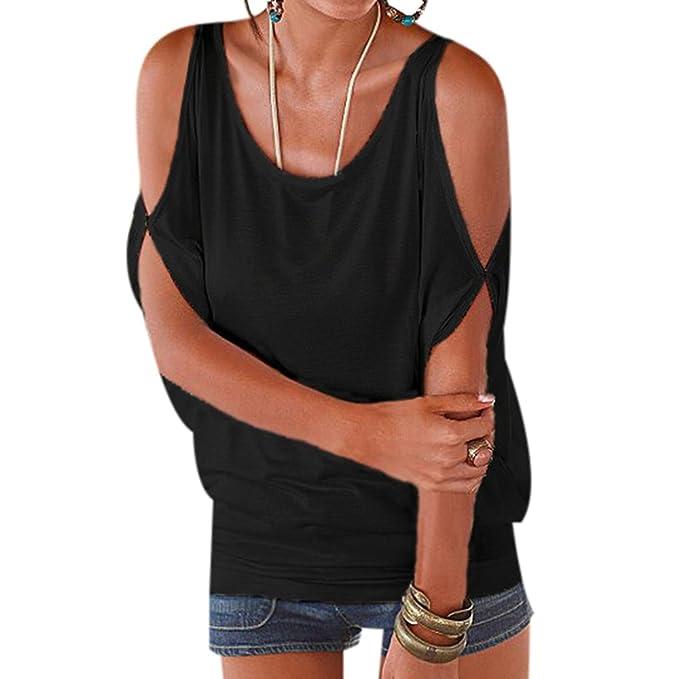 WhiFan Casual Camiseta para Mujer Verano Camisas De Hombro Frío Blusas Tops del Batwing Camisetas sin