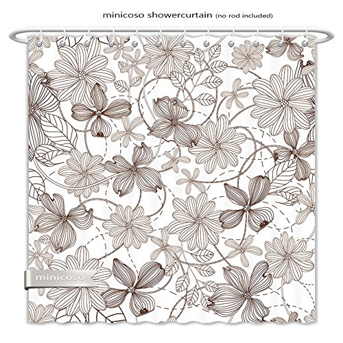 Minicoso ShowerCurtain abstract nature pattern with plants flowers monochrome endless pattern can be used for wallpaper Polyester Fabric Bathroom Shower Curtain