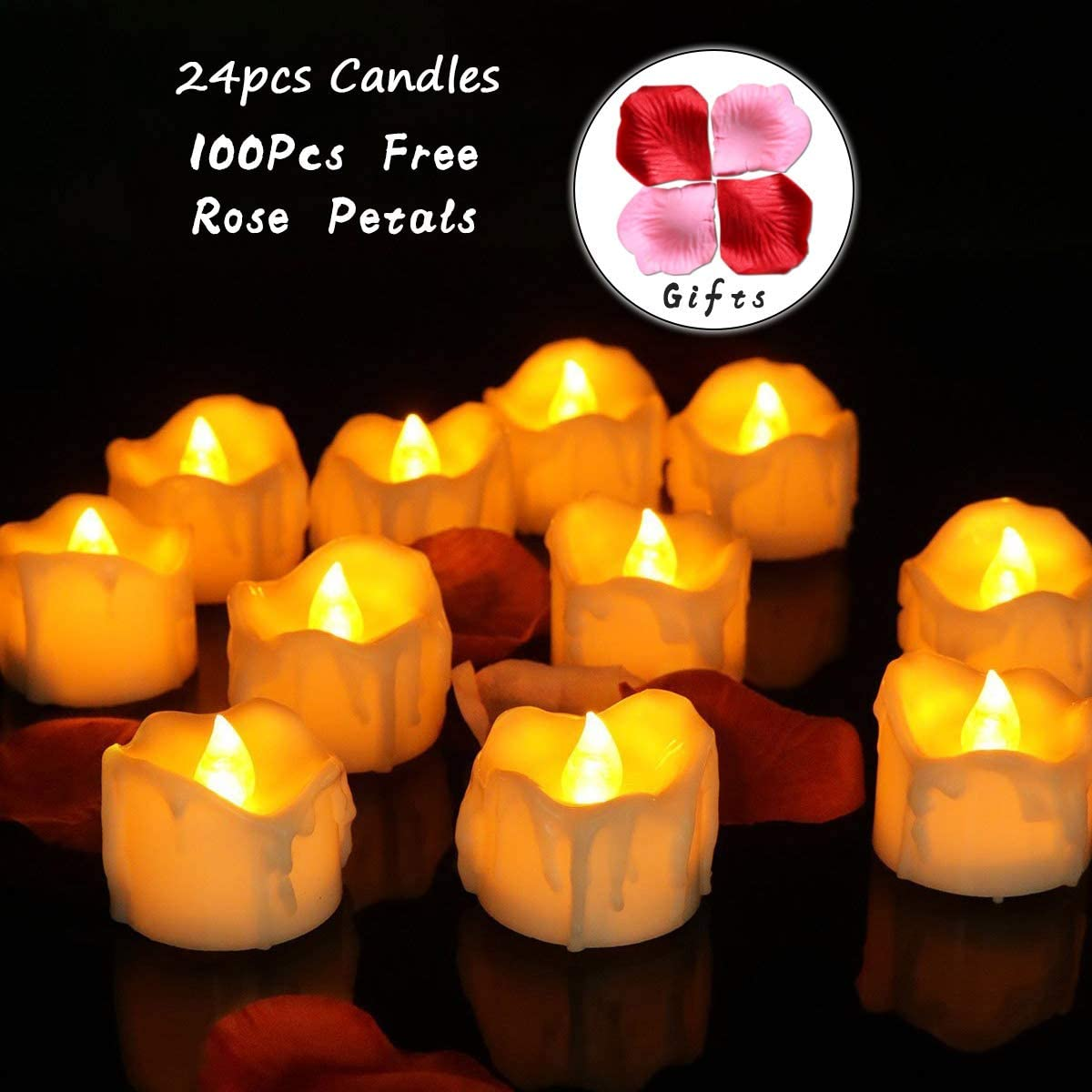 Youngerbaby 24pcs Amber Yellow Flickering Timing Tea Light Candles with Timer 6 Hrs on 18 Hrs Off Flameless LED Tealights Wax Dripped Battery Operated Candles for Wedding Birthday Party Dinner