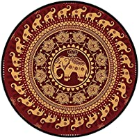 Printing Round Rug,Elephant Mandala,Tribal Mehndi Ethnic Backdrop with Lotus Flowers Guardian Animal Decorative Mat Non-Slip Soft Entrance Mat Door Floor Rug Area Rug For Chair Living Room,Burgundy an