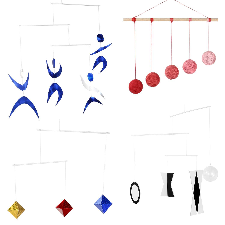Hand Made Set of 4 x Montessori Mobiles - Munari, Red Gobbi, Dancers Mobile, Octahedron. Montessori Mobile. Tetrahedron Mobile. Hanging Mobile-Initial Mobile- Black and White Picture Books