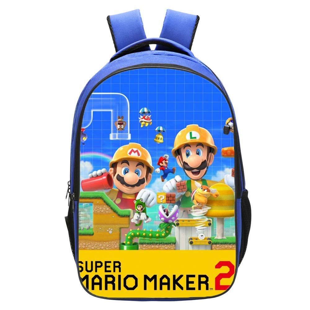 Qushy Super Mario Maker Backpack Schoolbag Bookbag Daypack Blue Bag (a)
