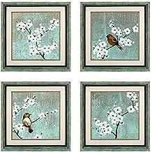 Dzhan Bird Wall Art, Framed Art Wall Decor, 16.7x16.7 Inches 4 Pcs, Wall Art for Living Room, Extra Large Canvas Art