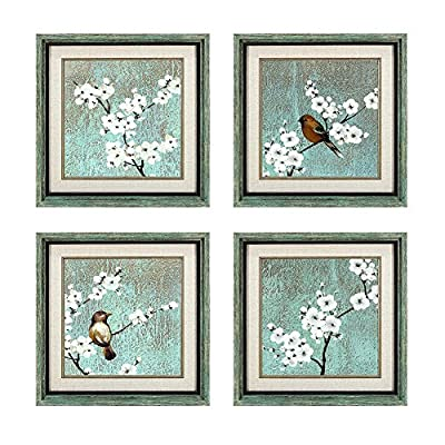 Dzhan Bird Wall Art, 16.7x16.7 Inches 4 Pcs Framed Art Wall Decor, Free Bird and Plum Flower Canvas Art, Wall Art for Living Room, Bedroom, Office, Gifts - SIZE: 16.7x16.7inchesx4pcs bird wall art (42.5x42.5cm) ready to hang. Oil paintings are done by professional artists. PACKAGE: Easy hanging for the strong hook fixed on each wooden inner frame. Each panel comes with protective package of plastic bag and corner protection, you do not need to worry about the paintings come defective. MATERIAL: High quality framed art wall decor. environment protection material, moisture-proof, not easy to deformed. no smell (placed in the children's room can be assured of safety) - wall-art, living-room-decor, living-room - 61AmFPA6VDL. SS400  -