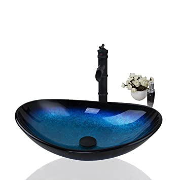 Ouboni Us Bathroom Artistic Oval Combo Glass Vessel Sink With Oil