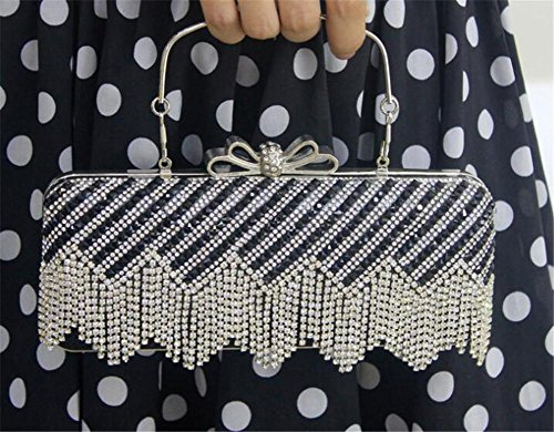 Rectangle Bags Handbag Party Diamond Clutch Wedding NVBAO Dress Shoulder Tassels Women Wedding fRIxqxZ