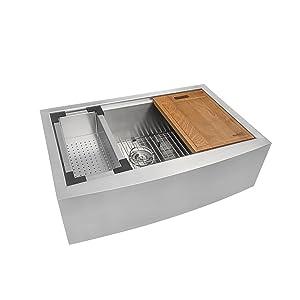 "Ruvati RVH9300 Apron Front 16 Gauge 36"" Kitchen Single Bowl Sink, Stainless Steel"