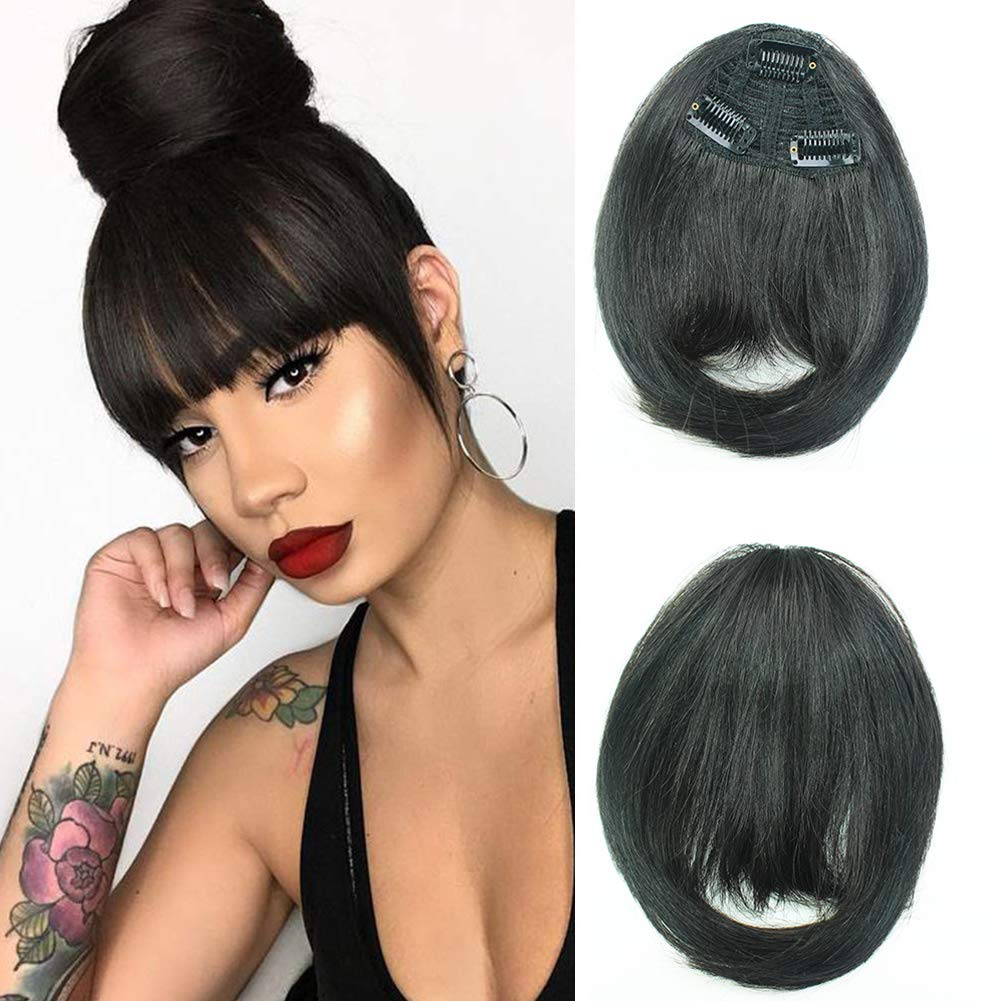 Amazon Com Clip In Bangs Real Human Hair Flat Bangs Remy Fringe Hair Extensions Thick Full Tied Bangs With Temples Clip On Hair Pieces For Women Beauty