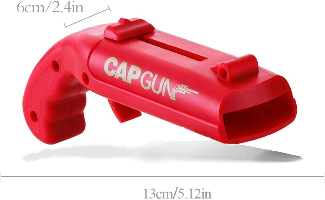 Beer-Cap-Gun,Funny Launcher Shooter Bottle Opener for Creative Drinking Game,Family Party,Bar Drinking,Outdoor Barbecue,Plastic Red/&Black